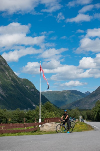 Leonie and Norwegian flag (Cycle Touring Norway 2016)