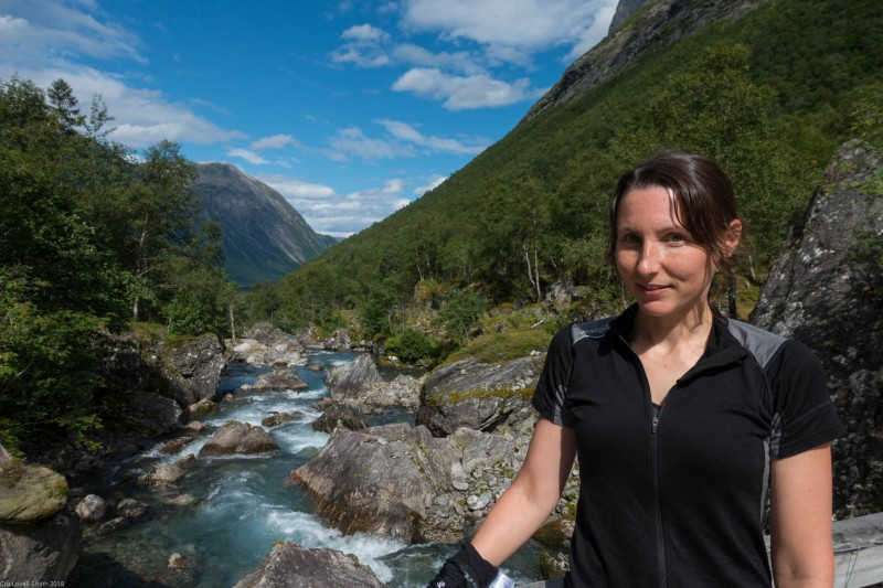 Leonie and river (Cycle Touring Norway 2016)