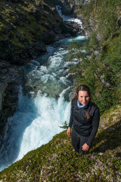Leonie and waterfall 2 (Cycle Touring Norway 2016)
