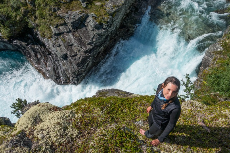 Leonie and waterfall 3 (Cycle Touring Norway 2016)