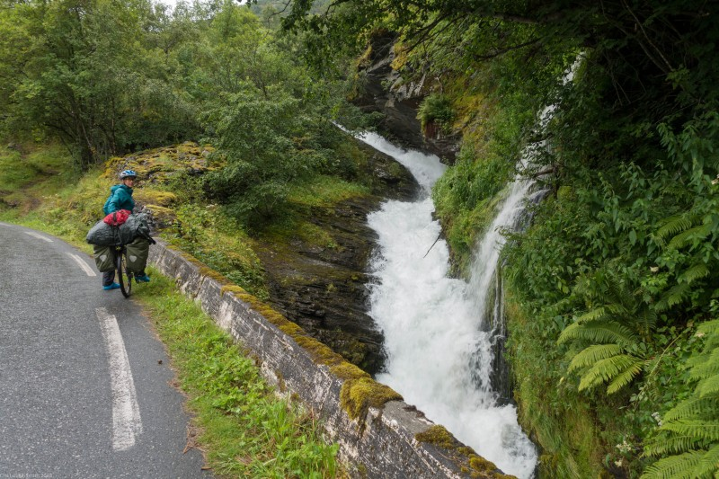Leonie and waterfall (Cycle Touring Norway 2016)