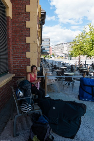 Leonie at the Lillehammer train station (Cycle Touring Norway 2016)_2