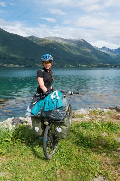 Leonie at the seaside (Cycle Touring Norway 2016)