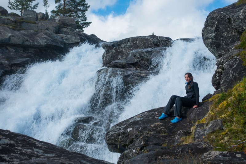 Leonie by the waterfall (Cycle Touring Norway 2016)