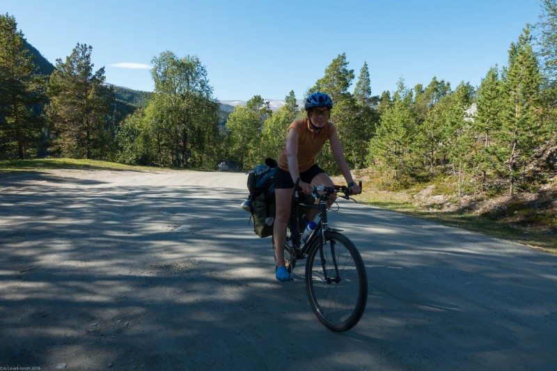 Leonie cycling again (Cycle Touring Norway 2016)