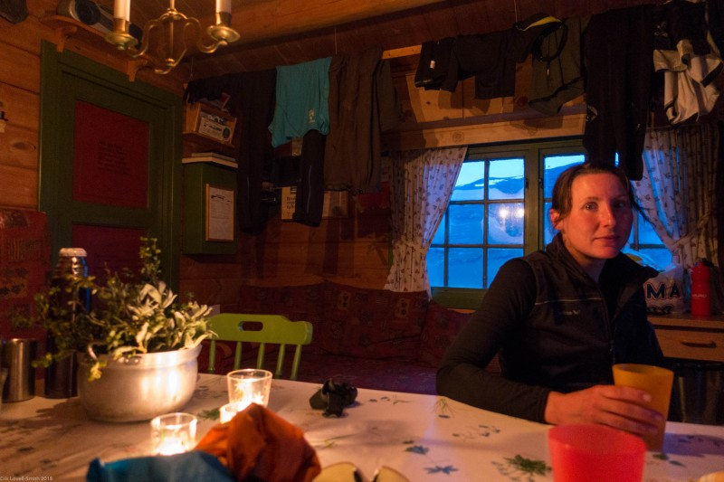 Leonie in a hut (Cycle Touring Norway 2016)