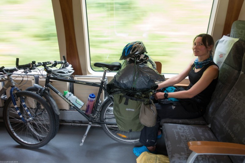 Leonie in the train (Cycle Touring Norway 2016)