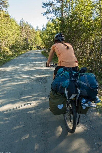 Leonie riding (Cycle Touring Norway 2016)