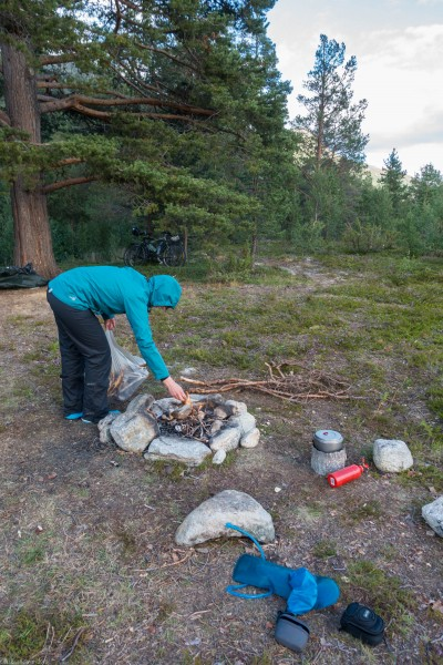 Lighting a fire (Cycle Touring Norway 2016)