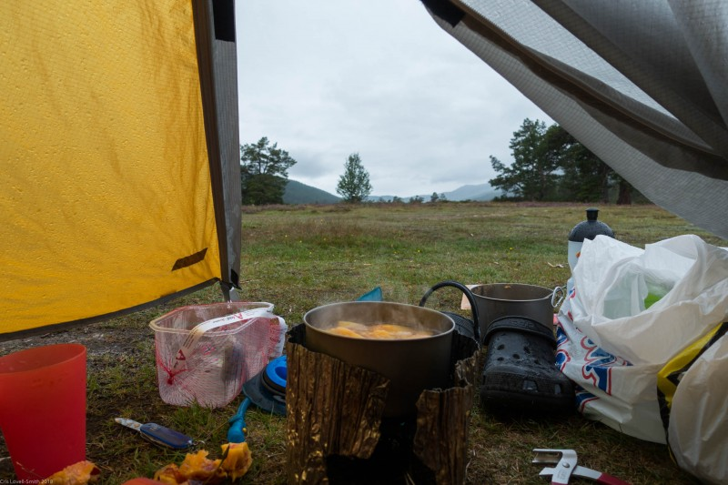 Overcast view from tent (Cycle Touring Norway 2016)