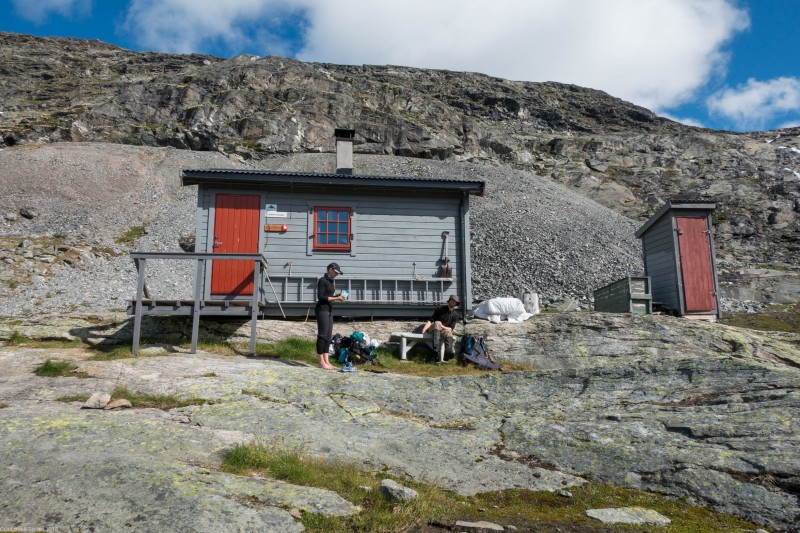 Taking a break by the hut (Cycle Touring Norway 2016)