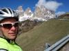 Cris nears Sella pass (Cycling  Dolomites)
