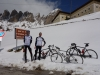 Marco and Thomas riding in the snow (Cycling Dolomites)