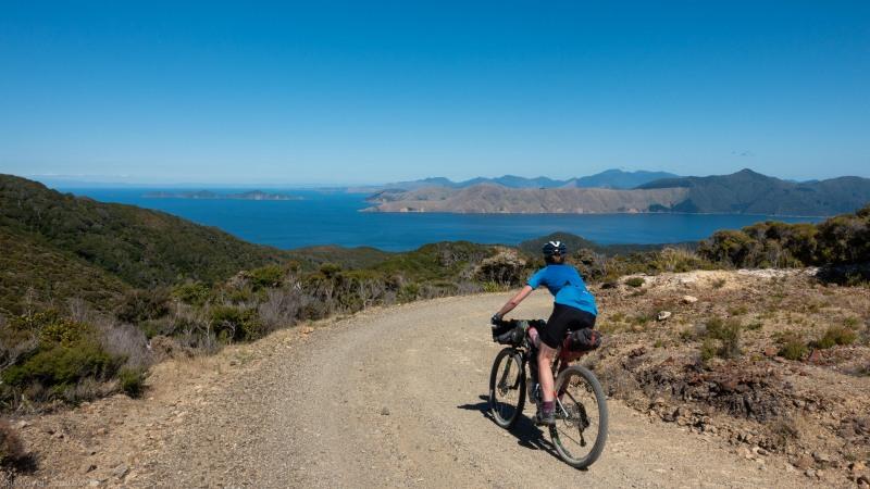 Georgia riding down (D'Urville Island Bike Packing Feb 2021)