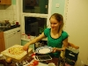 Suvi making pizza at her flat 2 (Norwich)
