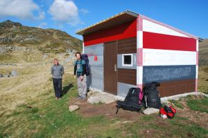 Cris and Mark outside refugio (Fagaras Mountains)