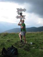 Cris and sign post (Fagaras Mountains)