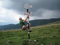 Cris climbs pole 2 (Fagaras Mountains)