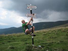 Cris climbs pole 2 (Fagaras Mountains)
