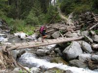 Crossing the bridge (Fagaras Mountains)