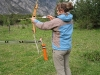 Birgit at the archery (Faszi Adventure, Haiming, Austria)