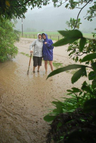 Mum and Gina in flood (Ligar Bay)