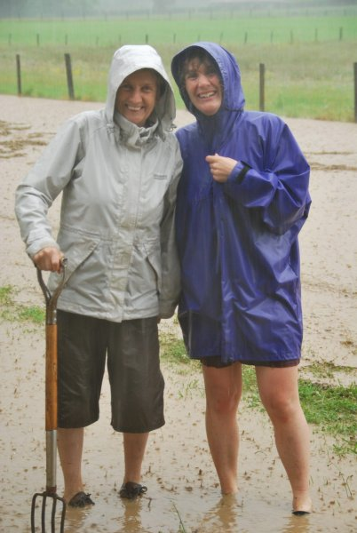 Mum and Gina in flood water (Ligar Bay)