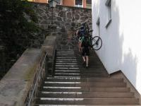 Climbing stairs with bikes (Freiburg, Germany)