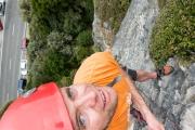 Cris at the top of a climb (Paynes)