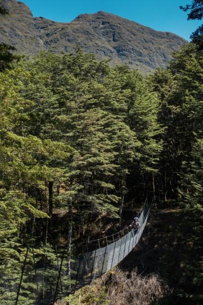 Jeremy crossing a bridge (Greenstone-Caples Jan 2021)