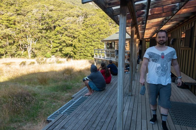 Simon at the hut (Greenstone-Caples Jan 2021)