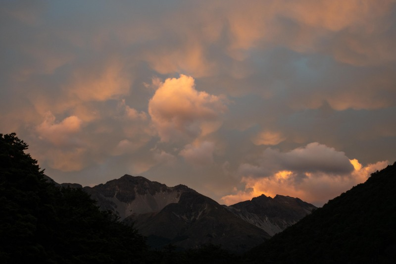 Sunset at Greenstone Hut (Greenstone-Caples Jan 2021)