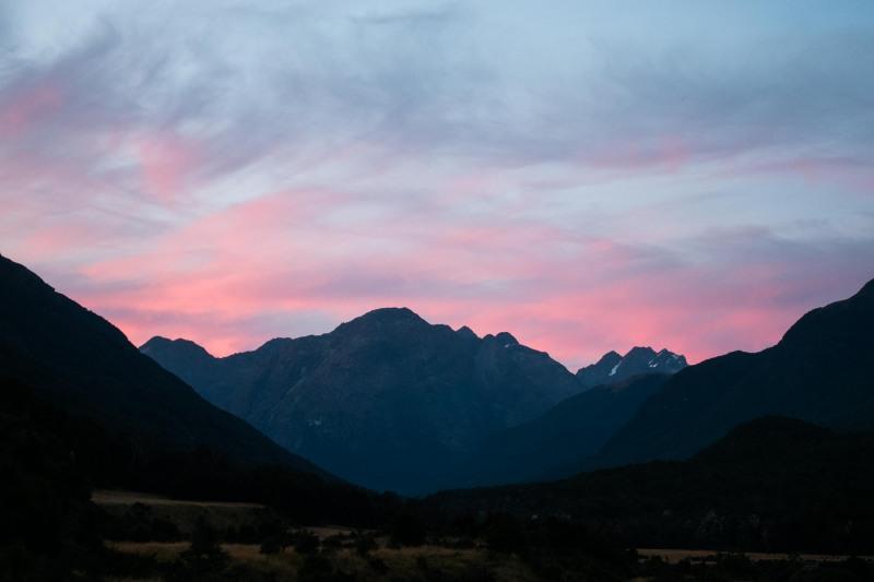 Sunset from Mid-Caples (Greenstone-Caples Jan 2021)