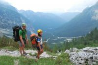 Cris + Em walk down valley (Triglav Nat. Park, Slovenia)