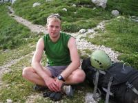 Cris looking tired at saddle (Triglav Nat. Park, Slovenia)