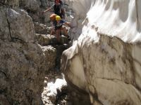 Climbing between snow and rock (Triglav NP, Slovenia)