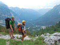Cris + Em walk down valley (Triglav Nat. Park, Slovenia)