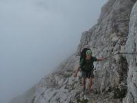 Cris walking in mist (Triglav Nat. Park, Slovenia)