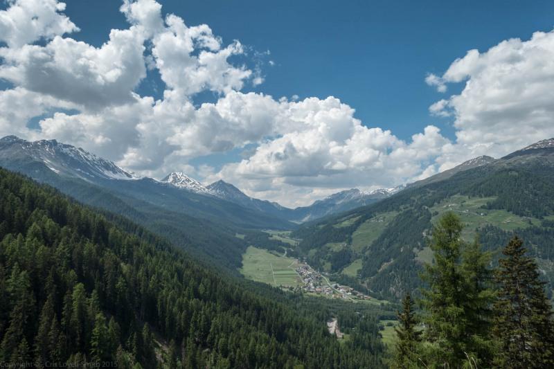 View from halfway down Umbrail Pass (Ride up Stelvio Pass, Italy 2015)