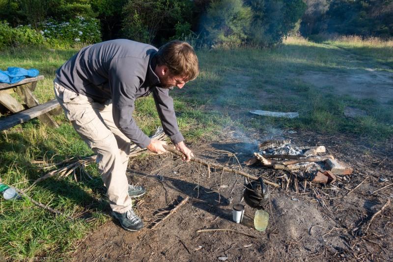 Craig and his kettle (Kahurangi Point Jan 2021)