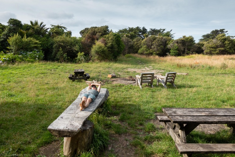 Ellen relaxing (Kahurangi Point Jan 2021)