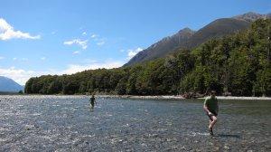 Anita and Simon crossing the river (30th Birthday Bash)