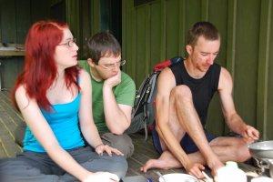 Anita, Simon, and William at breakfast (30th Birthday Bash)