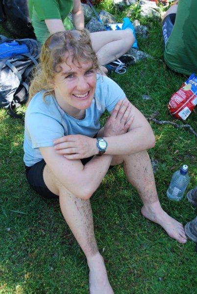 Gina with muddy legs (30th Birthday Bash)