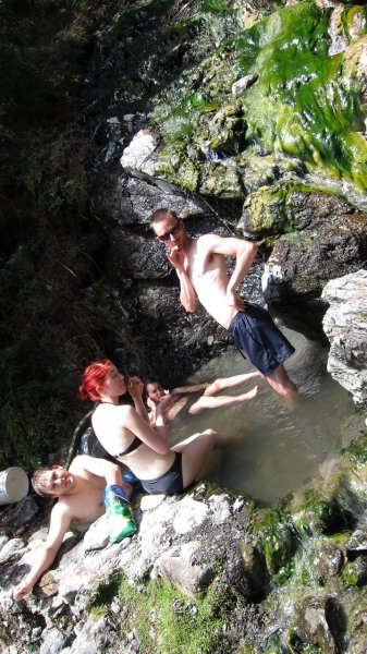 In the Hurunui hot pools (30th Birthday Bash)
