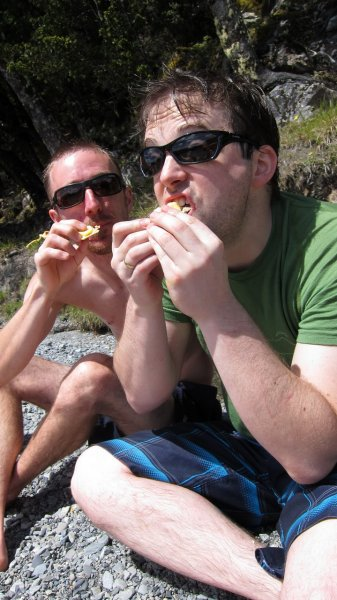 William and Simon eating crackers (30th Birthday Bash)