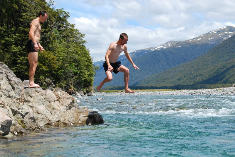 William jumps into the river (30th Birthday Bash)