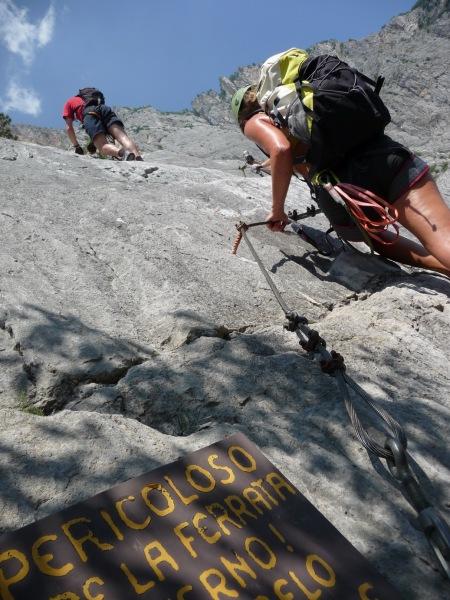 Climbing the klettersteig (Lago di Garda, Italy)