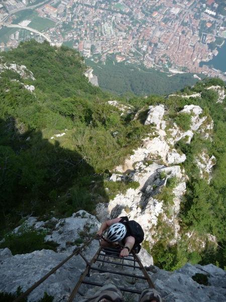 Cris on klettersteig ladder (Lago di Garda)
