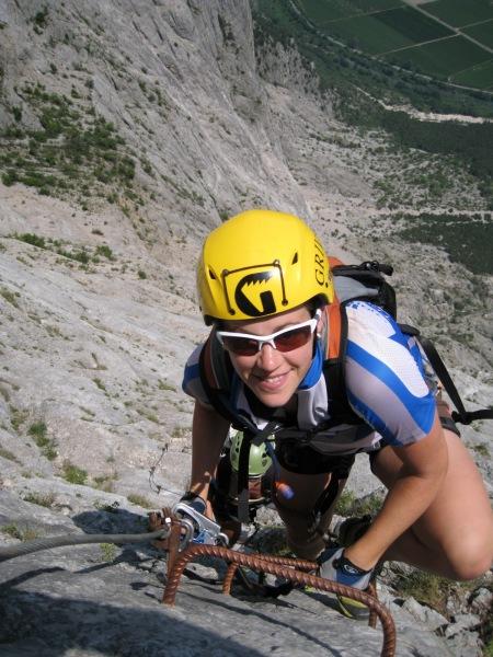 Emily on ladder (Lago di Garda, Italy)